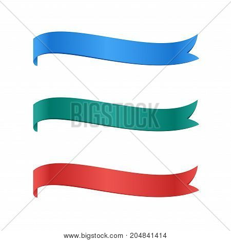 Bookmarks colorful set. Ribbon flag stickers. Vector illustration.
