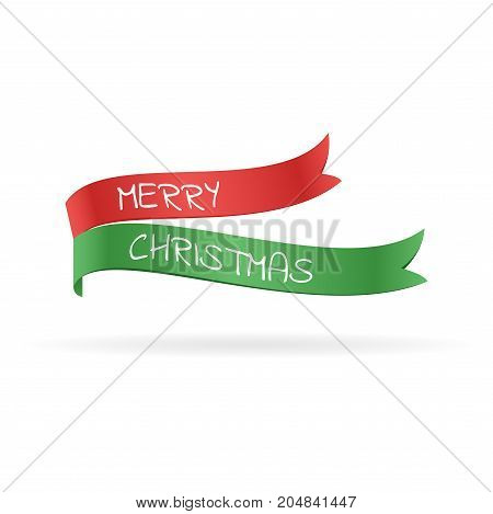 Green and red flags with text. Merry Christmas greeting card. Vector illustration.
