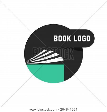 black round book logo. concept of scrapbook, e-book, info, pdf, manual, diary, college, paperback, encyclopedia, bookshop. flat style trend modern brand design vector illustration on white background