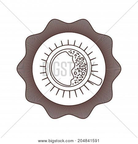 logo badge decorative of top view cup of coffee with handle brown silhouette on white background vector illustration
