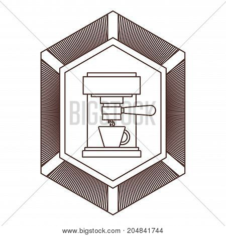 logo badge decorative of coffee espresso machine front view striped brown silhouette on white background vector illustration