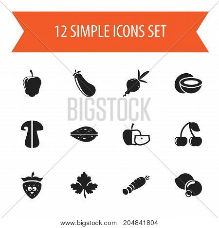 Set Of 12 Editable Cooking Icons. Includes Symbols Such As Sweet Pepper, Berry, Turnip And More