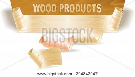 Wood shavings and wood texture on a white background. Vector image.