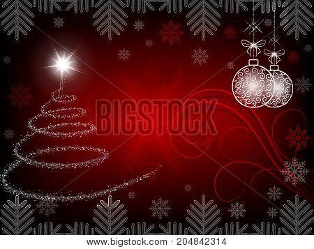 Christmas red background with Christmas tree and Christmas balls