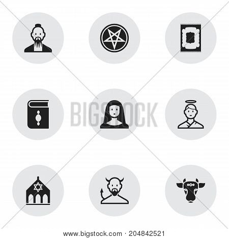 Set Of 9 Editable Religion Icons. Includes Symbols Such As Satan, Holy Bull, Temple And More