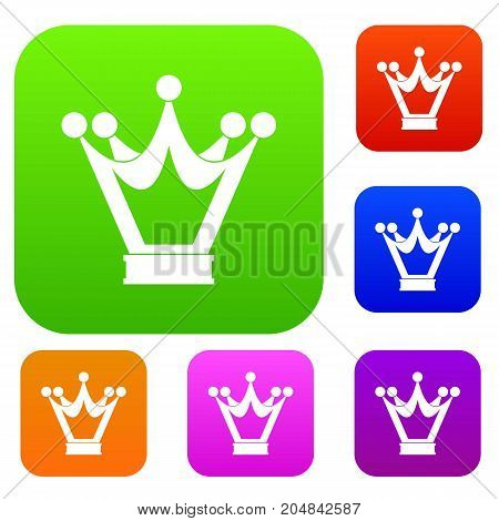 Princess crown set icon color in flat style isolated on white. Collection sings vector illustration