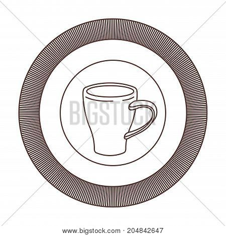 logo badge circular decorative of mug of coffee with handle striped brown silhouette on white background vector illustration