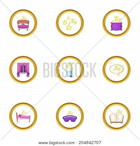 Time to sleepicons set. Cartoon style set of 9 time to sleep vector icons for web design