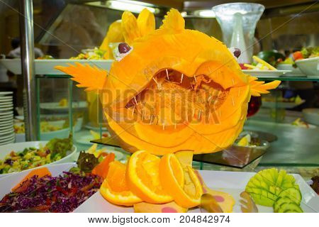 pumpkin carving fishes - traditional art at Egypt