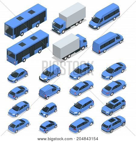 Flat isometric high quality city transport car icon set. Car, van, cargo truck, off-road, bike, mini, sport car. Transport set. Set of urban public and freight transport for infographics.