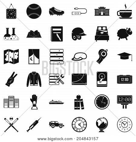 Server icons set. Simple style of 36 server vector icons for web isolated on white background