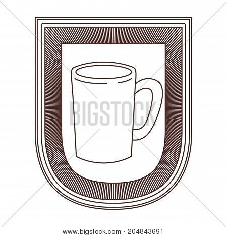 logo design of decorative emblem with silhouette mug striped brown silhouette on white background vector illustration