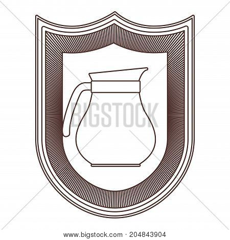 logo shield decorative of glass jar with handle striped brown silhouette on white background vector illustration