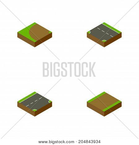 Isometric Road Set Of Down, Footpath, Turning And Other Vector Objects