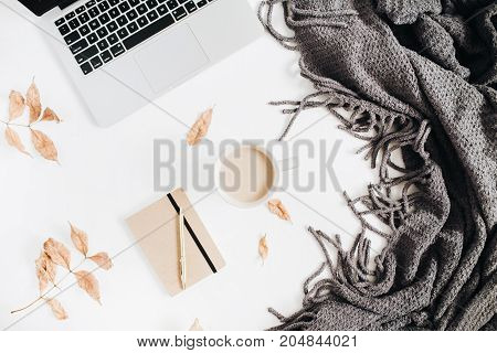 Autumn fall home office desk concept. Flat lay top view.
