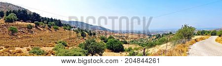 Panorama of the landscape on the island of Kos in Greece