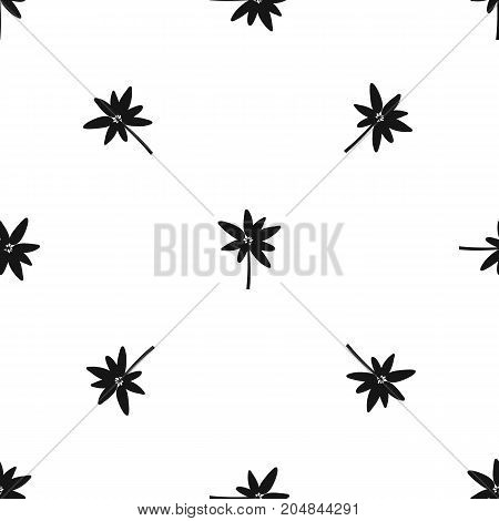 Long palm pattern repeat seamless in black color for any design. Vector geometric illustration