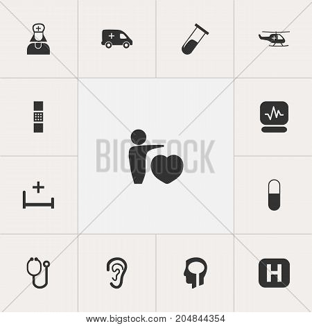 Set Of 13 Editable Care Icons. Includes Symbols Such As Pulse, Emergency, Human Love And More