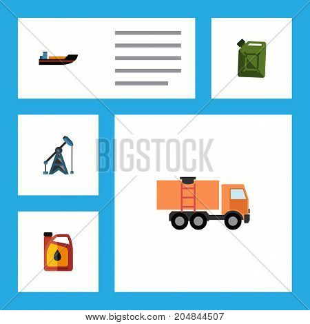 Flat Icon Oil Set Of Boat, Rig, Jerrycan And Other Vector Objects