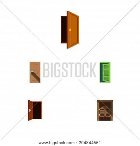 Flat Icon Door Set Of Saloon, Approach, Entry And Other Vector Objects