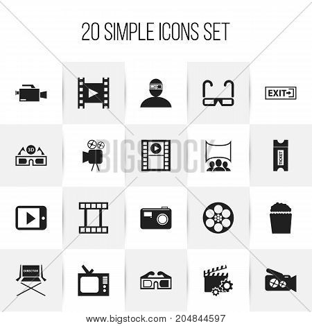 Set Of 20 Editable Cinema Icons. Includes Symbols Such As Filmstrip, Photographing, Tripod And More
