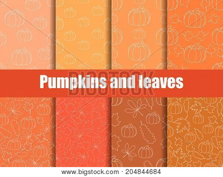 Autumn set of seamless pattern with pumpkins and leaves. Background with yellow leaves. Vector illustration