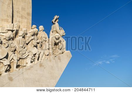 Detail of the Monument of the Discoveries (Padrão dos Descobrimentos) in the banks of the Tagus River in Lisbon Portugal