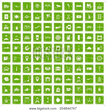 100 loader icons set in grunge style green color isolated on white background vector illustration