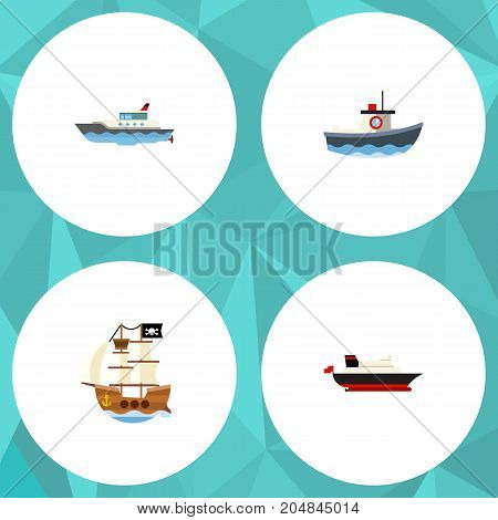 Flat Icon Boat Set Of Cargo, Sailboat, Transport And Other Vector Objects