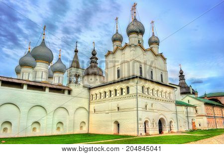 Church of the Resurrection of Christ and the Assumption Cathedral at Rostov Kremlin, the Golden Ring of Russia
