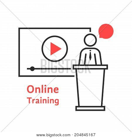 online training with linear spokesman. concept of class, tablet, leader, personal tutor, teamwork, university, presentation. flat style trend modern logo design vector illustration on white background