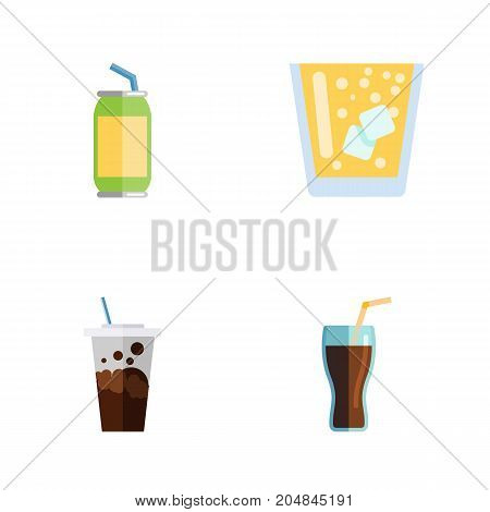 Flat Icon Soda Set Of Carbonated, Fizzy Drink, Lemonade And Other Vector Objects