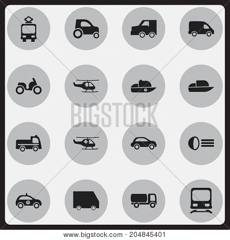 Set Of 16 Editable Transport Icons. Includes Symbols Such As Delivery, Vessel, Moped And More
