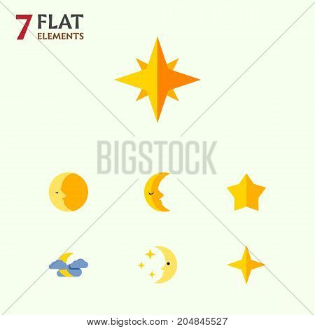 Flat Icon Midnight Set Of Asterisk, Lunar, Nighttime And Other Vector Objects