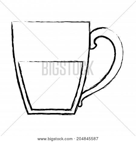 porcelain mug of coffee with handle monochrome blurred silhouette vector illustration