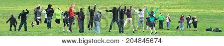 Washington DC - May 1, 2011: Fun Group of Young People Jumping near Lincoln Memorial in Washington DC