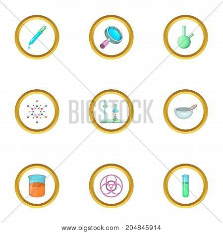 Chemical laboratory equipment icons set. Cartoon style set of 9 chemical laboratory equipment vector icons for web design