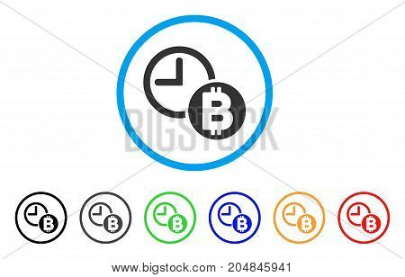 Bitcoin Credit Clock rounded icon. Style is a flat bitcoin credit clock grey symbol inside light blue circle with black, gray, green, blue, red, orange versions.