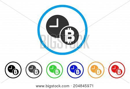 Bitcoin Credit Clock rounded icon. Style is a flat bitcoin credit clock gray symbol inside light blue circle with black, gray, green, blue, red, orange versions.