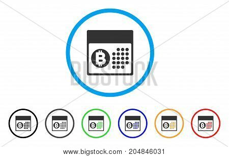Bitcoin Table rounded icon. Style is a flat bitcoin table gray symbol inside light blue circle with black, gray, green, blue, red, orange versions. Vector designed for web and software interfaces.
