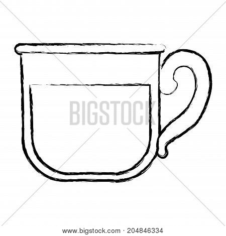 glass mug of coffee with handle monochrome blurred silhouette vector illustration