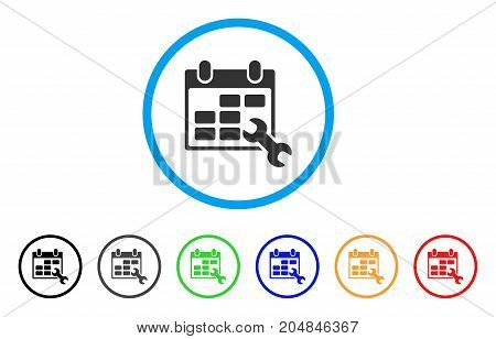 Configure Timetable rounded icon. Style is a flat configure timetable grey symbol inside light blue circle with black, gray, green, blue, red, orange color versions.