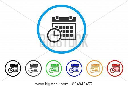 Date And Time rounded icon. Style is a flat date and time grey symbol inside light blue circle with black, gray, green, blue, red, orange color versions.