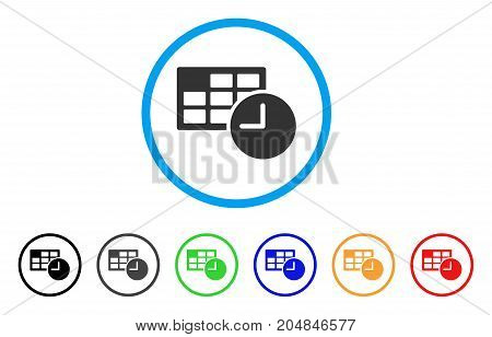 Date And Time rounded icon. Style is a flat date and time grey symbol inside light blue circle with black, gray, green, blue, red, orange versions. Vector designed for web and software interfaces.