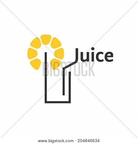 juice icon with abstract glass. concept of party club, tasty, simple emblem, martini decoration, natural. flat linear style trend modern brand graphic design vector illustration on white background