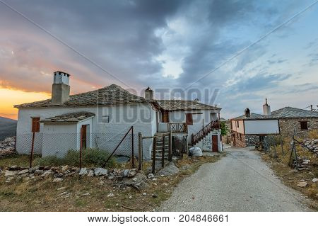 Traditional houses in Kastro village (oldest village on the island) on the Thassos Island Greece