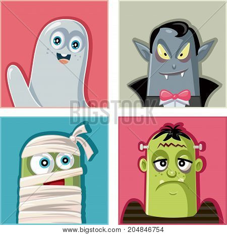 Halloween Monsters Characters Vector Illustration Set - Funny collection of horror cartoon characters and creatures