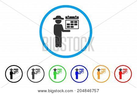 Gentleman Schedule rounded icon. Style is a flat gentleman schedule gray symbol inside light blue circle with black, gray, green, blue, red, orange variants.
