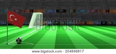 Turkey Flag On A Soccer Field. 3D Illustration