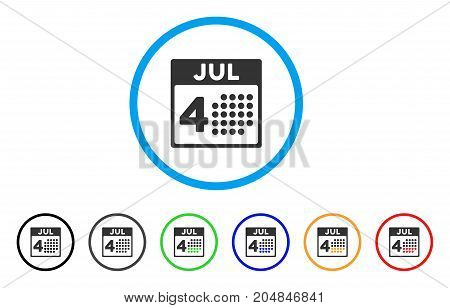 Independence Day rounded icon. Style is a flat independence day grey symbol inside light blue circle with black, gray, green, blue, red, orange variants.
